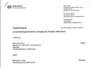 Klagebewilligung gegen METANET AG erteilt_Seite 1_20.08.2013